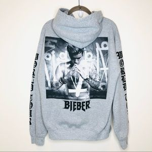 JUSTIN BIEBER WORLD TOUR HOODIE Gray Medium Merch